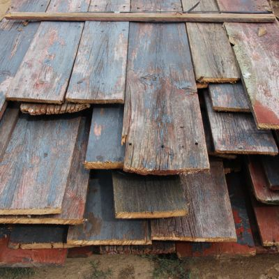Barnwood Siding blue on faded red